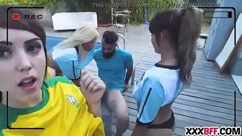 soccer aficionados toying and tearing up