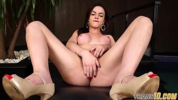 inked she-creature jacking off in close-up