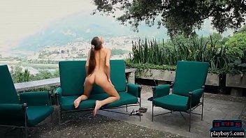bony and tall dark haired teenager honey garden striptease