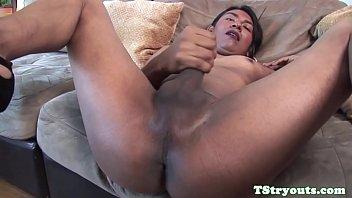 glam latina tgirl masturbating off at.