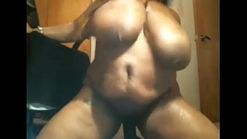 ebony plus-size with humungous funbags goes kinky on.